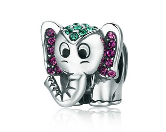 8dd831683 Elephant Bead — Genuine 925 Sterling Silver Charm — Fits Pandora Bracelet  Necklace Bangle for Women, Girl, Gift — Animal Kingdom