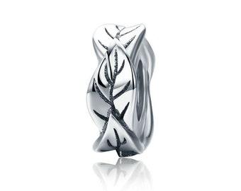 efa4c66e3 Leaf Plant Flower Spacer — Genuine 925 Sterling Silver Charm — Fits  European & Pandora Bracelet, Bangle for Women, Bead, Stopper