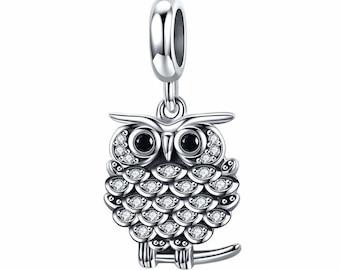 bfa32570c Owl Animal Kingdom Bead — Genuine 925 Sterling Silver Charm — Fits Pandora  Bracelet, Necklace, Bangle, for Women, Girl Gift