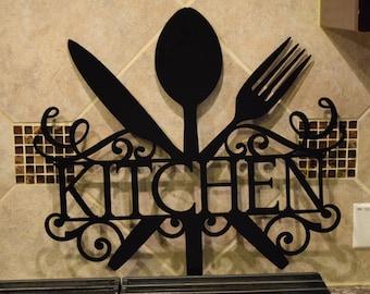 Metal kitchen sign | Etsy