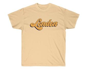 6640e4ac98 London 70s Style Shirt Camel/Tan Retro Vintage I Love London