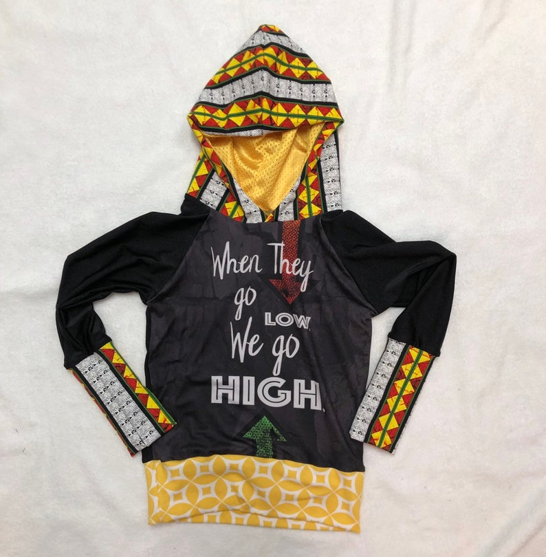 Youth Size 6-9 They Go Low We Go High Michelle Obama Quote Grow With Me Hoodie