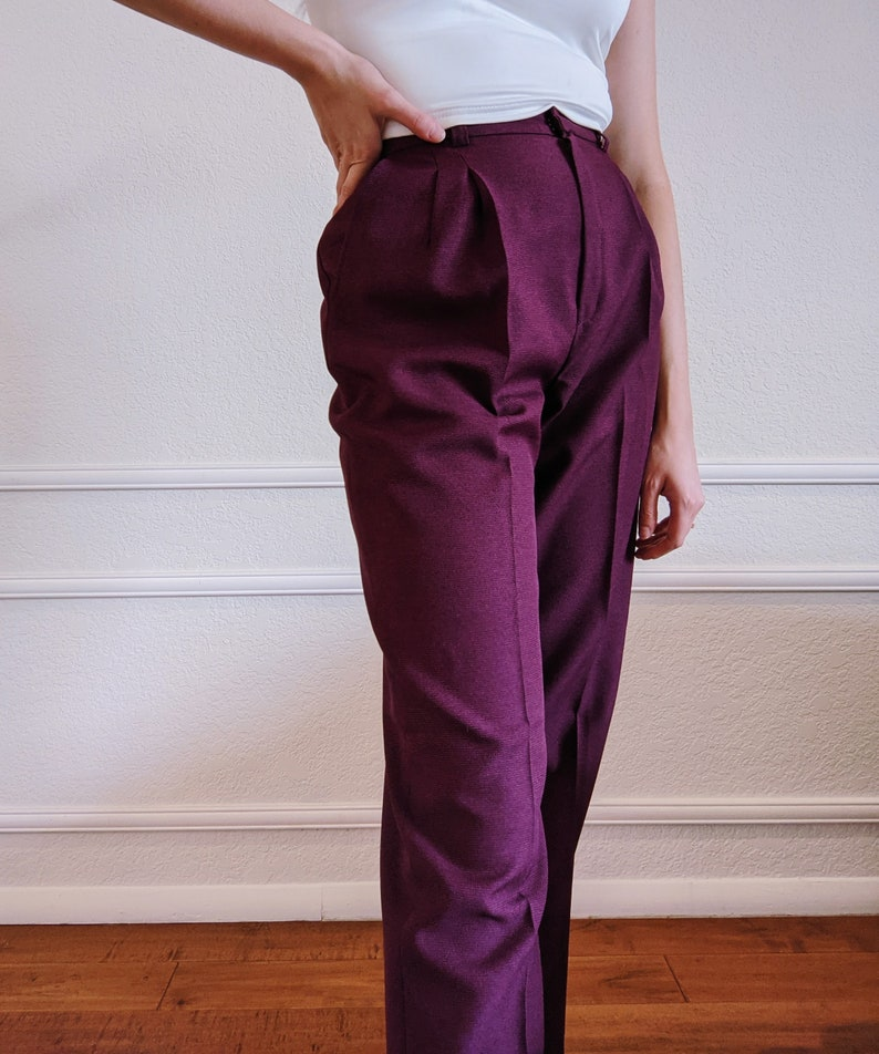 Vintage High Rise Purple Trousers with 28 inch waist