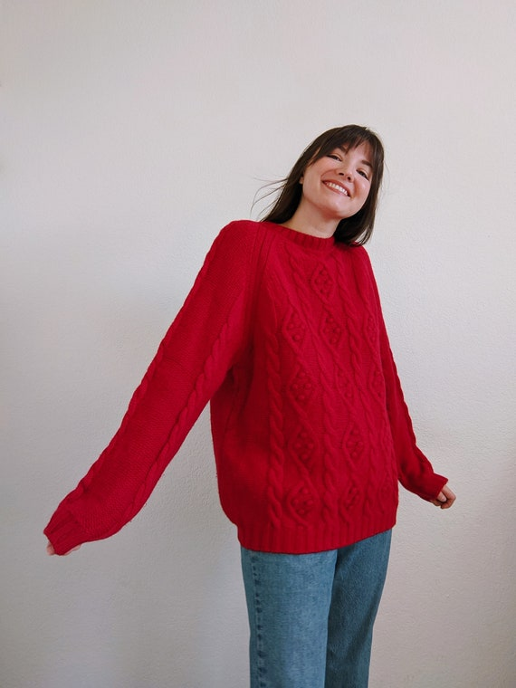 Vintage Cable Knit Wool Sweater in Hot Pink