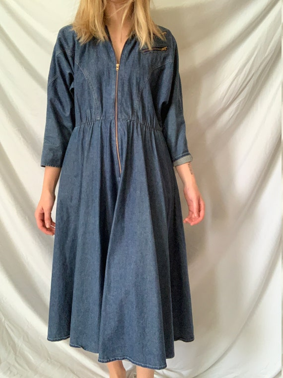 Vintage 1980's Denim Collared Midi dress with zipp