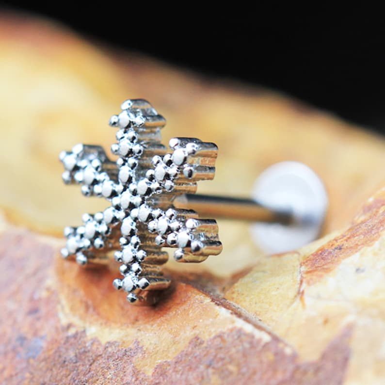 316L Stainless Steel Snowflake Labret