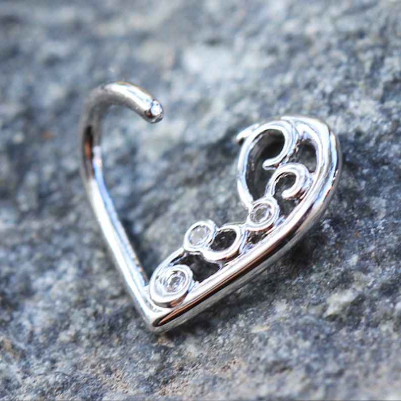 316L Stainless Steel Jeweled Ornate Heart Annealed Cartilage Earring