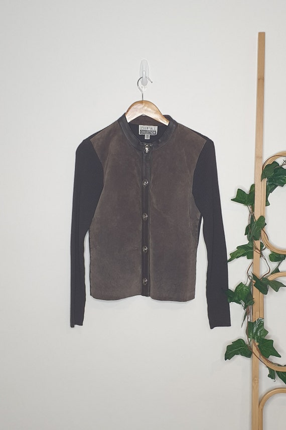 Vintage 90s Suede Cotton Blend Jacket Cardigan Siz