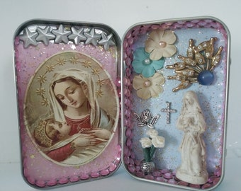 Altered Tin Diorama Mixed Media and Handmade Art Traveling Pocket Shrine Unique Mothers Day Gift Miniature Love of the Mother