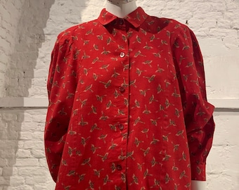 Vintage 1980s prairie puffed balloon sleeve blouse birds.smock top