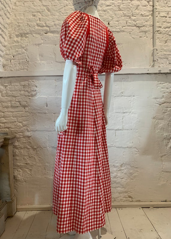 Vintage 1970s prairie gingham,puff sleeve cotton,