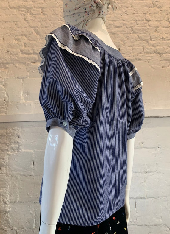 Vintage 1970s prairie cotton striped blouse, ruffl