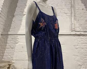 Vintage 1970s/80s Jumpsuit floral bird glitter metallic thread floral hippie boho