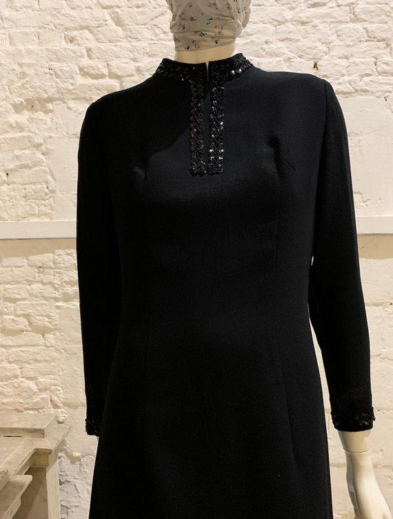 Vintage 1960s/70s black embellished woll mod dress