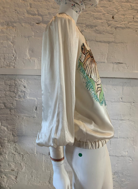 Vintage 1970s/80s tigers hand painted blouse vamp… - image 4