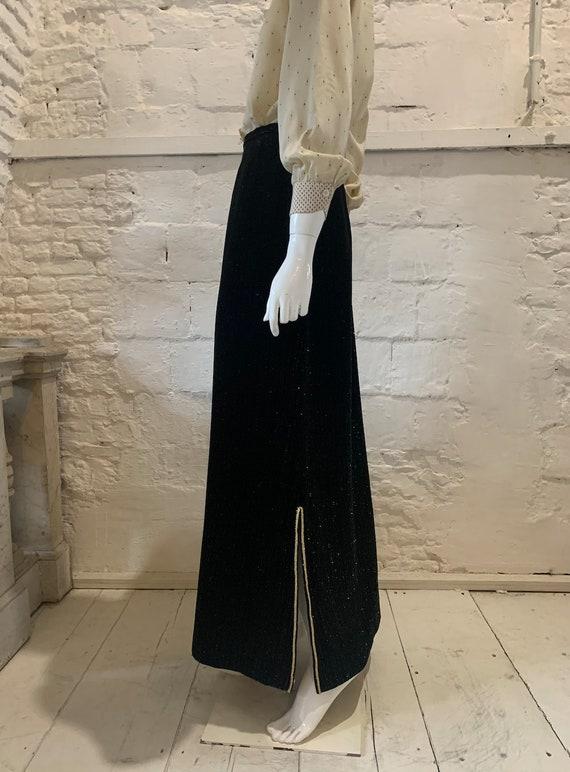 Vintage 1970s glitter pinstripe velvet maxi skirt.