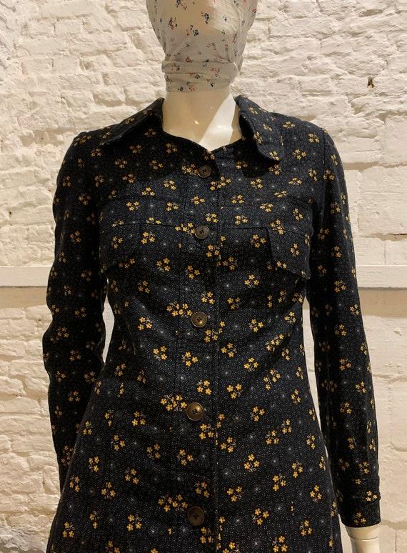 Vintage 1970s prairie  beagle collar floral shirt/