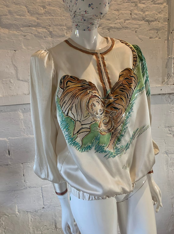 Vintage 1970s/80s tigers hand painted blouse vamp… - image 3