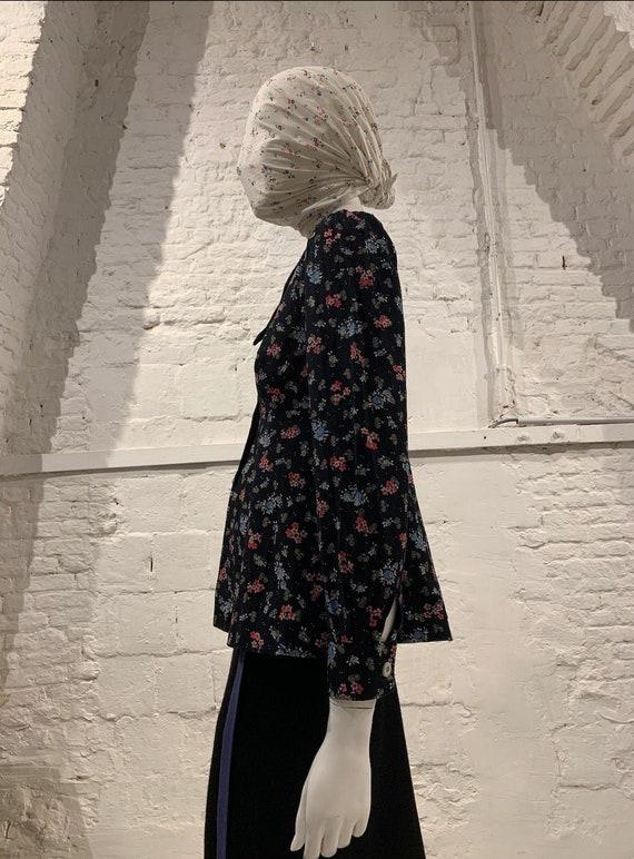 Vintage 1970s prairie  cotton floral blouse,puffed