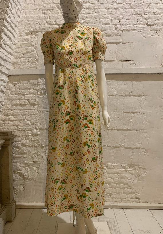 Vintage 1970s prairie cotton floral maxi dress,puf