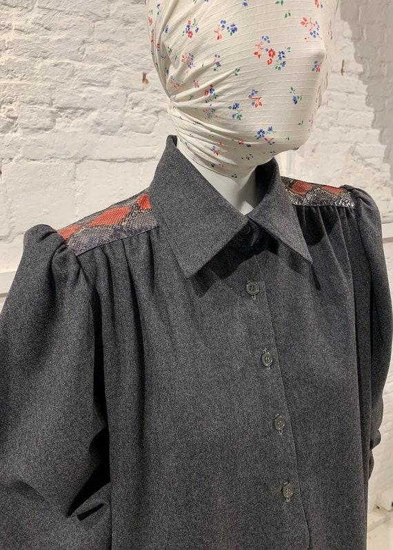 Vintage 1970s/80s wool coat dress,faux snakeskin ,