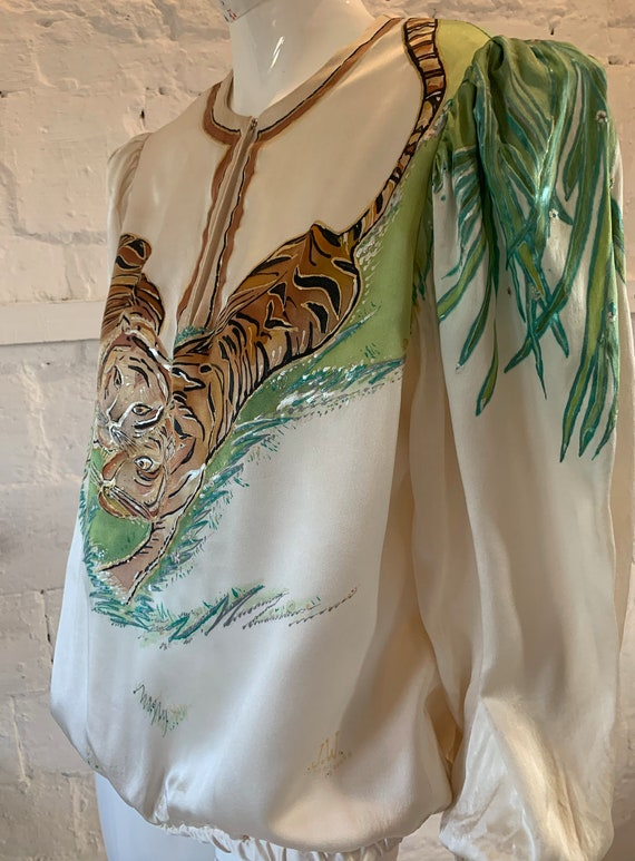 Vintage 1970s/80s tigers hand painted blouse vamp… - image 8