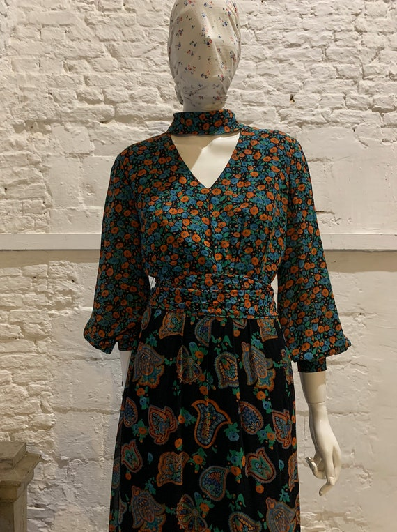 Vintage prairie floral and paisley Maxi dress,ball