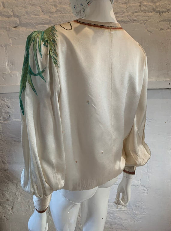 Vintage 1970s/80s tigers hand painted blouse vamp… - image 7