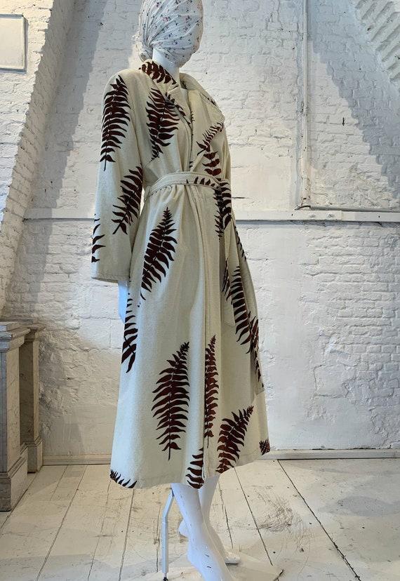 Vintage  1970s  Fern Towel Maxi Dress Terry Cloth