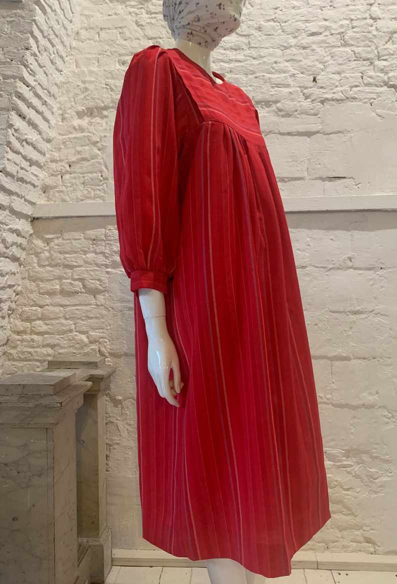 Vintage 1970s80s prairie balloon sleeve striped smock dress...