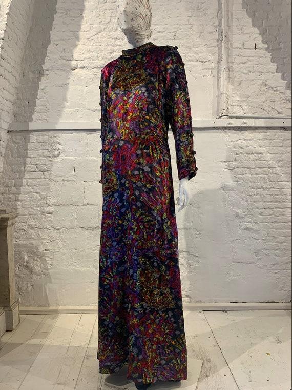 Vintage Vera Mont floral prairie velvet maxi dress