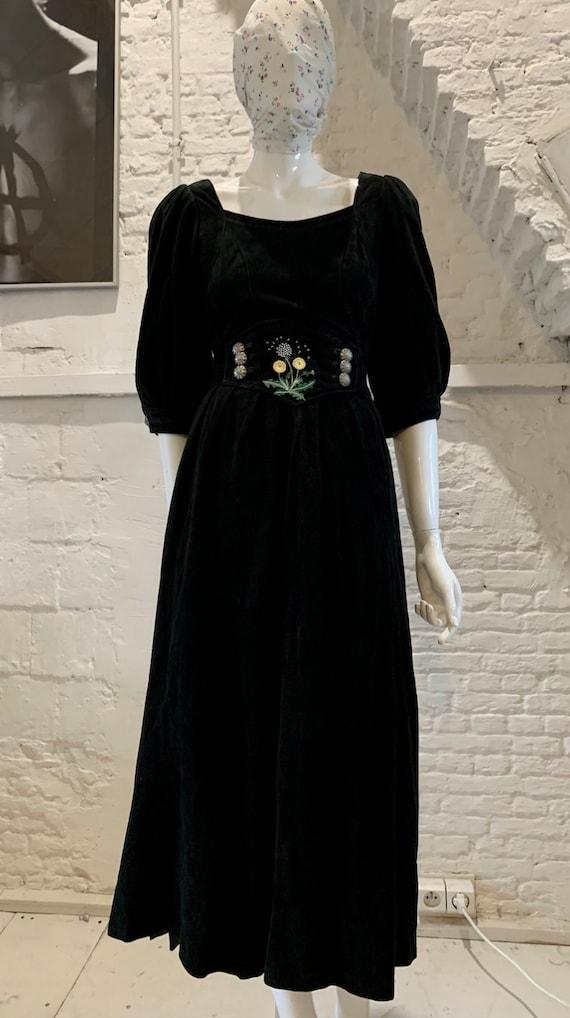 Vintage Austrian Suede Midi Dress Victorian Prairi