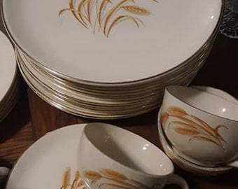 Vintage Homer Laughlin vintage Golden Wheat plates, bowls and coffee cups.