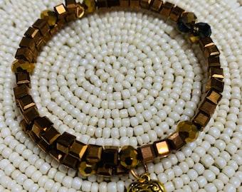 Women's Beaded Coil Bracelet  Glass Crystal  *303
