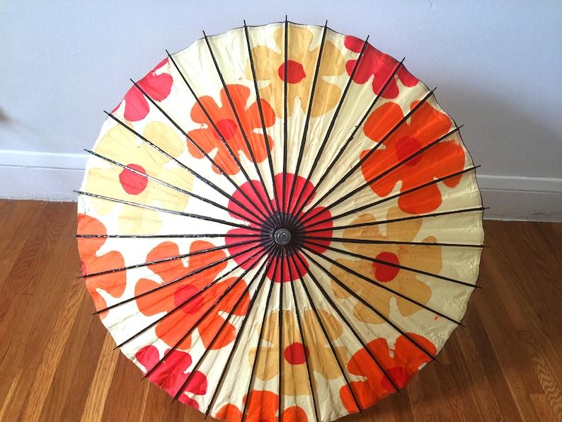 Flower Power Vintage 60/'s Mod Floral Paper Asian Umbrella Parasol Oriental Japanese Daisy Boho Kitsch Retro Hippy Hippie
