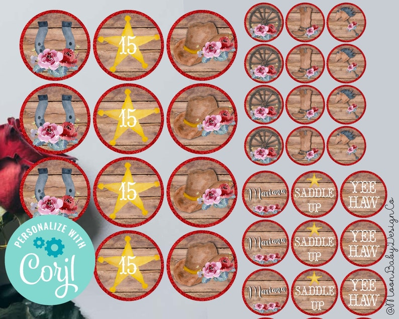Printable Cupcake Toppers Cowgirl Birthday Decorations Western Floral Western Theme Decorations Party Supplies Diy Instant Download