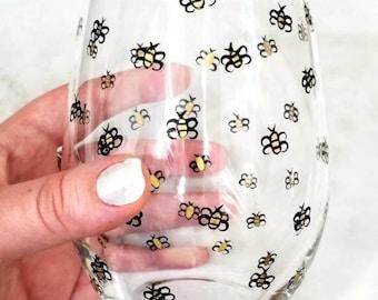Bee Wine Glass Bumblebee Lover Gift