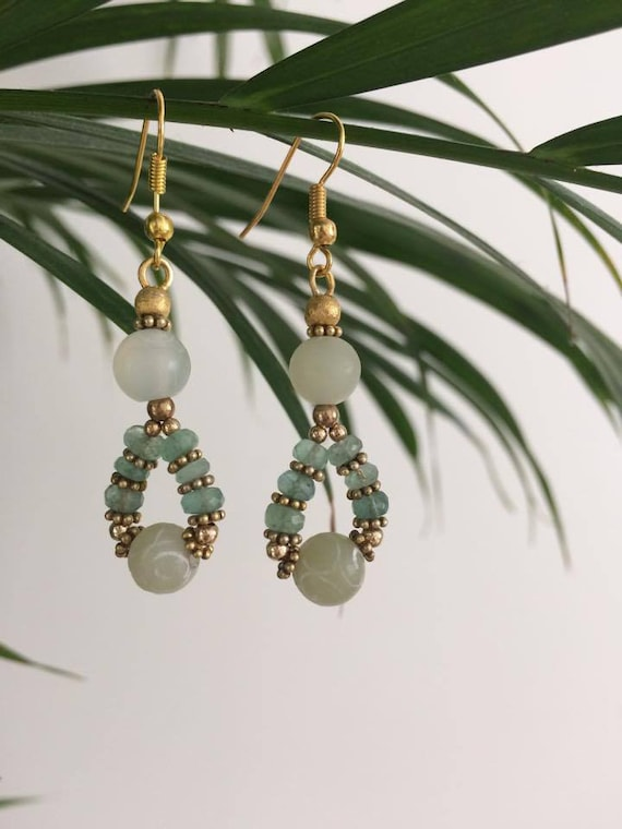 Earrings with Jade and emerald
