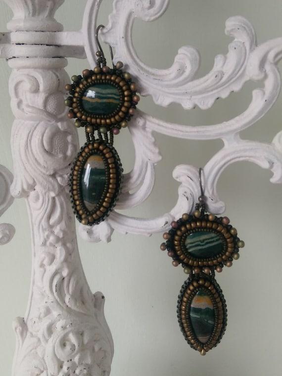Earrings with Sea Sediment Jasper.