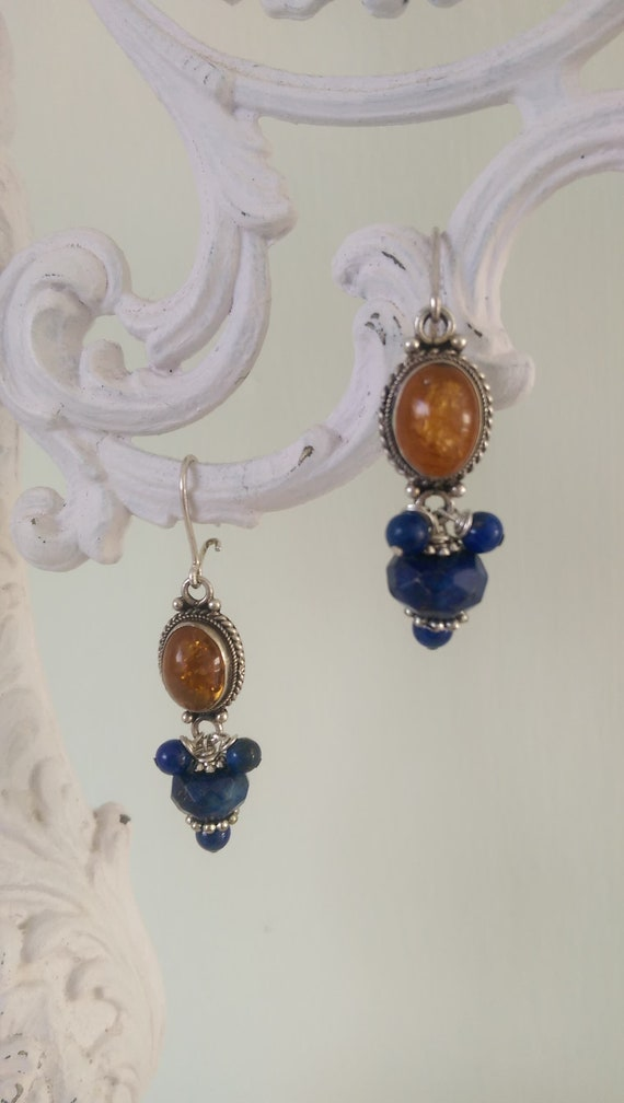 Earrings with Lapis Lazuli and Amber.