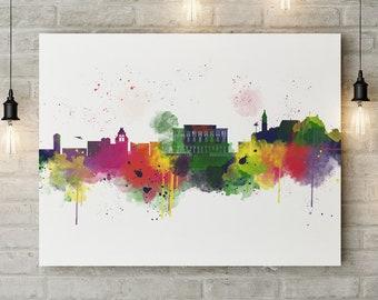 Corfu Skyline Canvas Print, Colourful Watercolour Art, Greece, Cityscape, Watercolor Box Canvas Print, Gift For Him/Her