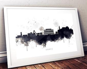 Corfu Greece Skyline Watercolour Art Print in Black & White, Poster, with City Name, Wall Art Print, Room Print