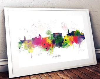 Corfu Watercolour Art Print, Abstract Multi Colour Skyline Watercolour Print, Room Print, Modern Art Gift