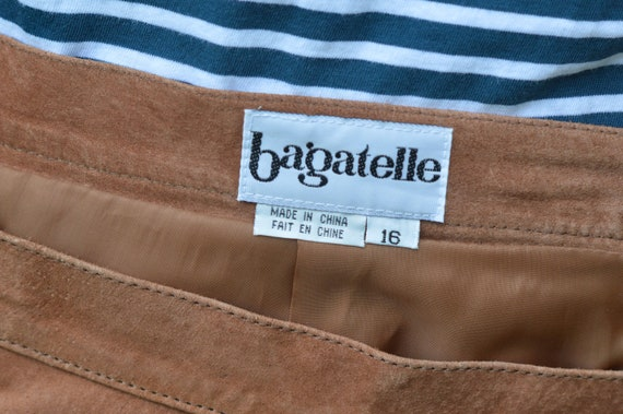 Tan Suede Leather Skirt, Vintage 1990s, Brand: Ba… - image 5
