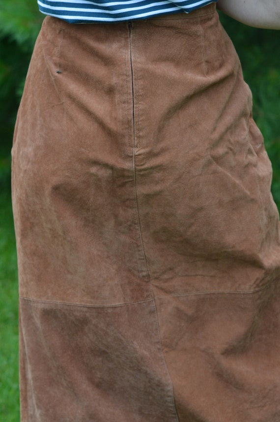 Tan Suede Leather Skirt, Vintage 1990s, Brand: Ba… - image 3