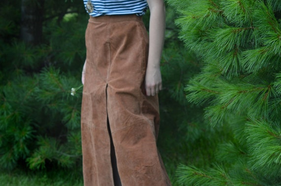 Tan Suede Leather Skirt, Vintage 1990s, Brand: Ba… - image 1