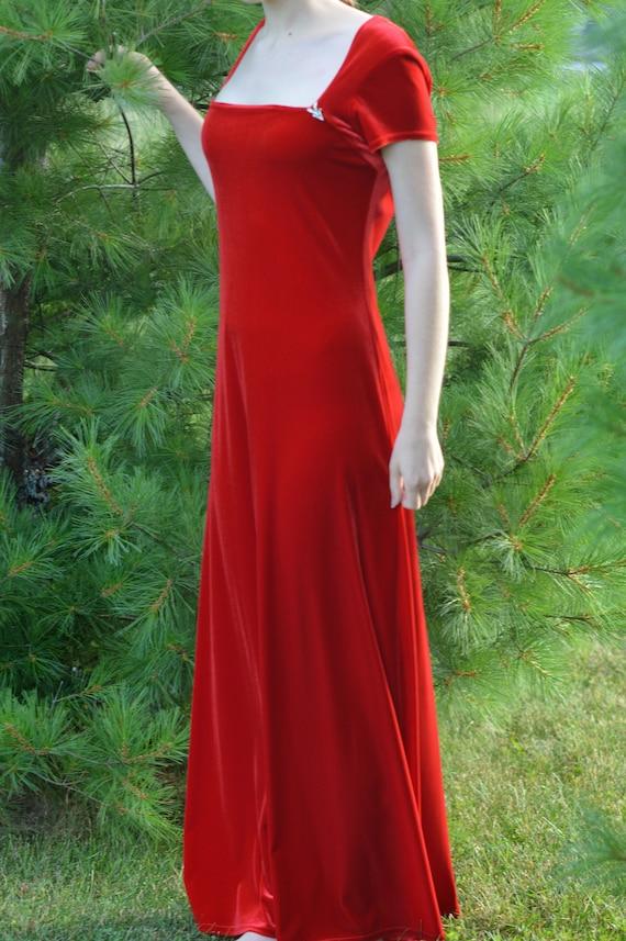 Red Velvet Full-Length Dress, Vintage 1970s/1980s