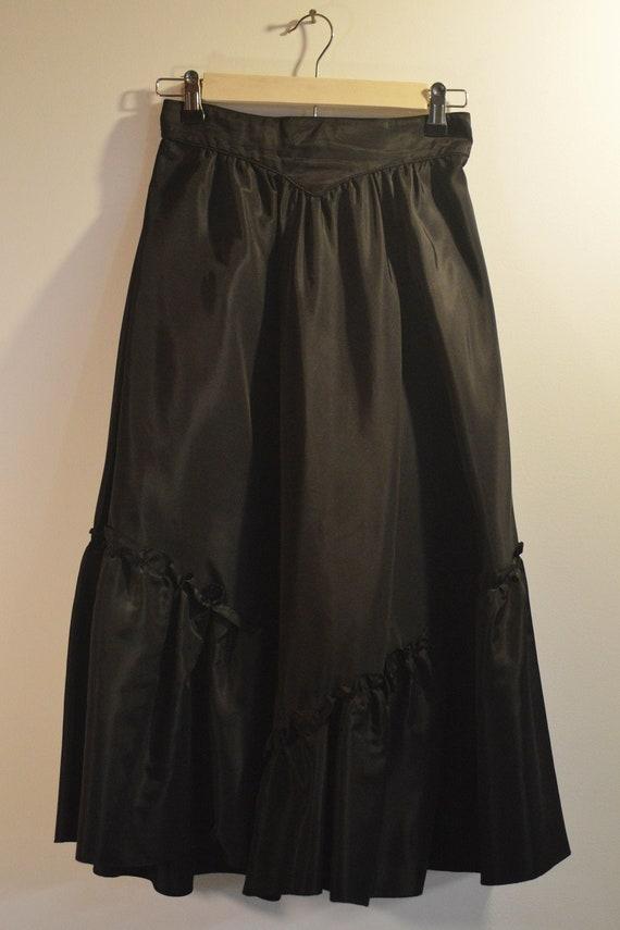 1980s Taffeta Ruffled Skirt