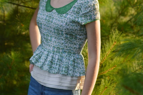 Patterned Blouse with Peter Pan Collar