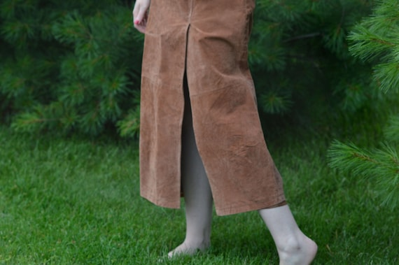 Tan Suede Leather Skirt, Vintage 1990s, Brand: Ba… - image 2